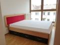 Bett aus Buchenhol und Filz